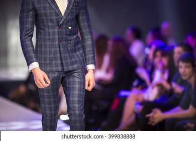 A male model walks the runway during the 2016 Sofia Fashion Week Show in Sofia, Bulgaria.