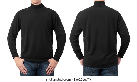 Male model wear plain black long sleeve t-shirt mockup template isolated on white background with clipping path, front and back view.