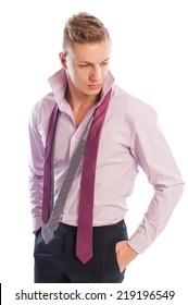 Male model wearing black pants, open purple shirt and two neckties on white background