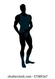Male model wearing underwear illustration silhouette on a white background