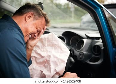 Male Motorist Injured In Car Crash With Airbag Deployed