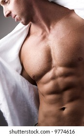 male muscular chest with open shirt