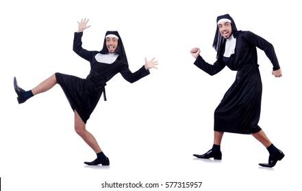 Male nun in funny religious concept
