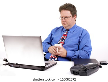 male office person with a dejected facial expression