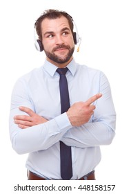 Male operator with headset showing empty copyspace on white background