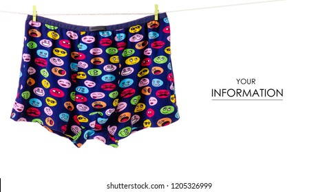 Male panties on rope clothespins pattern on white background isolation