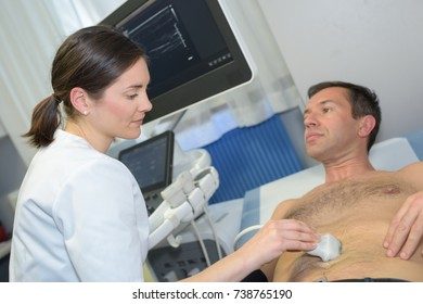 male patient having an ultrasound