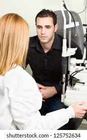 Male patient listening diagnose after medical attendance at the optometrist