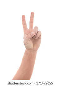 Male Peace Sign Hand on a White Background
