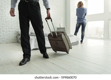 Male person going from his wife