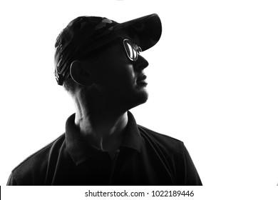 Male person silhouette over white