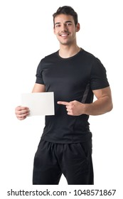 Male Personal Trainer Holding an Empty Card, isolated in white