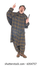 Male police officer dressed up as detective Sherlock Holmes investigating crime scene with magnifying glass. White background