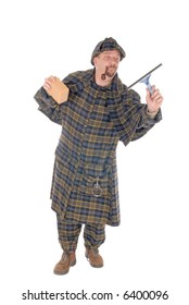 Male police officer dressed up as  detective Sherlock Holmes investigating crime scene, collecting evidence. white background