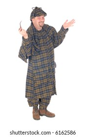 Male police officer dressed up as Sherlock Holmes, making gestures with hands.  White background