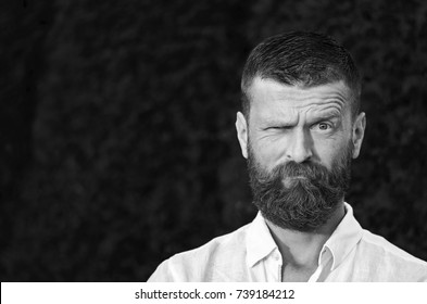 Male portrait. Brutal stylish guy with a beard and mustache. Piercing look from beneath the eyebrows. Looks like a traveler or a monk. Standing in a white shirt against the background of dense trees.