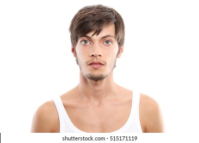 male portrait on white background
