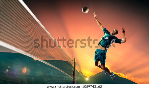 Beach Volleyball Player Illustration Isolated On White