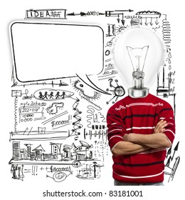 male in red and lamp-head with speech bubble, have got an idea