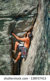 Male Rock Climber in the New River Gorge, West Virginia