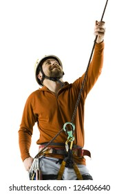 Male rock climber on white background