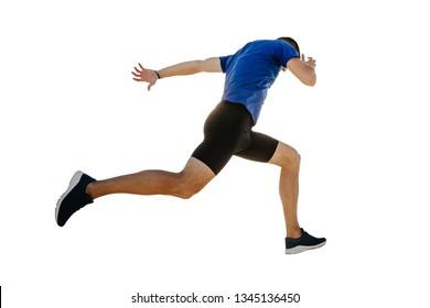 male runner running finish line isolated on white background