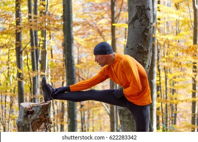 Male runner stretching outdoors in autumn forest in mountains. Standing Hamstring Stretch on stump.