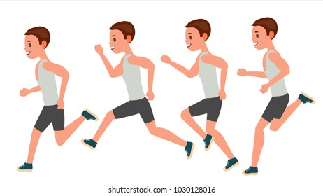 Male Running. Animation Frames Set. Sport Athlete Fitness Character. Marathon Road Race Runner. Side View. Sportswear. Jogging, Workout. Isolated Illustration