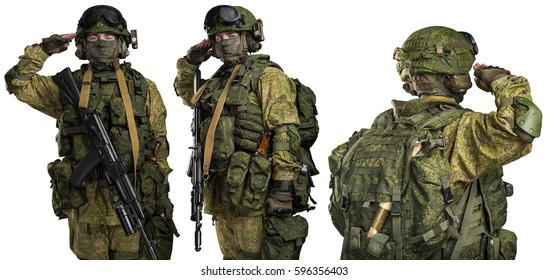 male in russian mechanized infantry uniform saluting isolated with clipping path on white background.