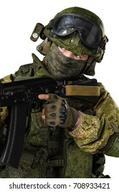 male in russian mechanized infantry uniform isolated with clipping path on white background.