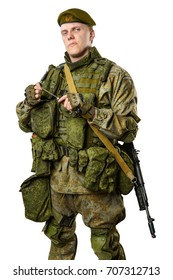 male Russian officer in mechanized infantry uniform isolated with clipping path on white background.