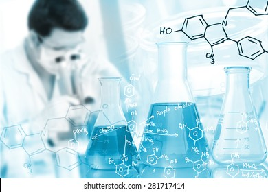 Male scientific researcher using microscope in laboratory with chemical equations background.