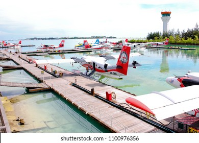 MALE SEA PORT - A Trans Maldivian double propeller sea plane are landed and parked in the seaport just next to Velana International Airport on October 2015