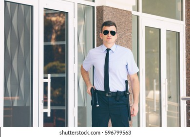 Male security guard, outdoors