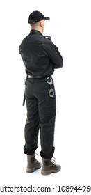 Male security guard in uniform on white background