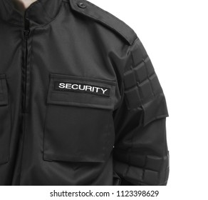 Male security guard in uniform on white background, closeup