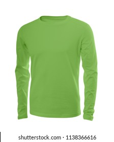 Male shirt in lime green (kale) with long sleeves isolated on white background (model 1)