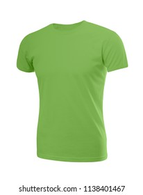 Male shirt in lime green (kale) with short sleeves isolated on white background (model 2)