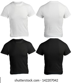 male shirt template, black and white, front and back design