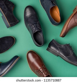 Male shoes collection. Men's fashion leather shoes flat lay