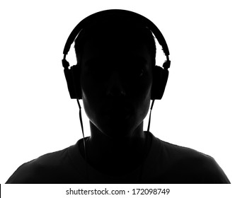 Male silhouette with headphones.Isolated on white background
