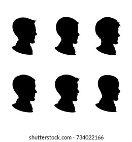 Male silhouette in profile, isolated on white background ,cartoon illustration