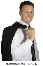 A male is smiling while dressed up for something.