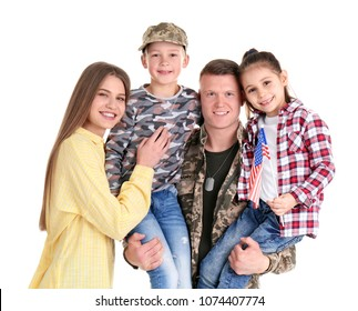 Male soldier with his family on white background. Military service