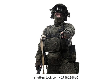 Male soldier in masking camo (green) suit. Shot in studio. Isolated on white background.