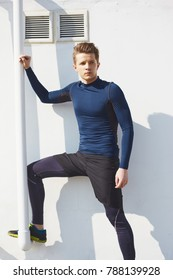 Male sport model in workout for training body