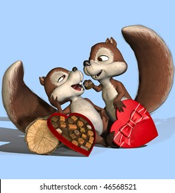"""male squirrel feed his wife. (""""I wanna be her Valentine!"""")"""