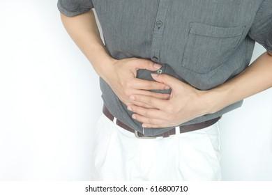 Male stomachache Health concept .White background