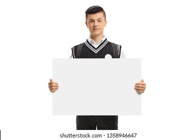 Male student holding a blank signboard isolated on white background