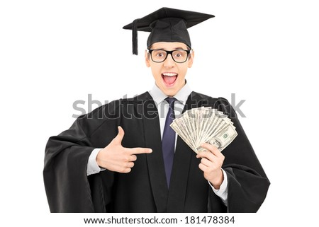 Male student holding cash and pointing with finger isolated on white background